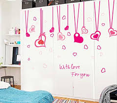 bibitime hanging heart decor stikcer valentines day love wall