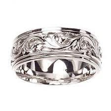 carved wedding band women s 14k white gold brocade engraved carved wedding