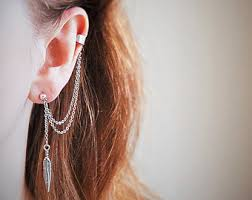 earrings with chain ear cartilage cuff ear cartilage earring
