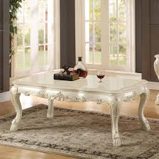 acme chantelle coffee table in pearl finish and marble top ac