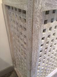 Whitewashed Wood Paneling Lattice White Washed Console Mecox Gardens
