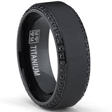 titanium mens wedding bands oliveti black plated titanium men s black cubic zirconia comfort