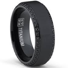 titanium mens wedding bands oliveti black plated titanium men s black cubic zirconia comfort
