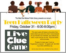 halloween game party west des moines public library teen halloween party live clue