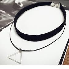 velvet choker necklace pendant images Black velvet choker necklace with geometric triangle pendant jpg