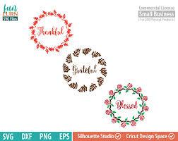 thankful grateful blessed svg 3 wreaths thanksgiving svg