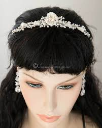 wedding tiara wedding tiara of pearls and porcelain flower lynne