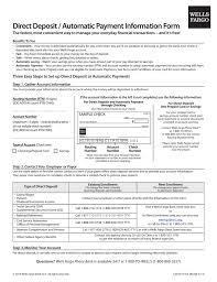 Authorization Letter For Bank Deposit Format free wells fargo direct deposit form pdf eforms free
