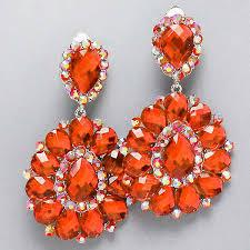 clip on chandelier earrings orange chandelier rhinestone clipon bridal dragqueen