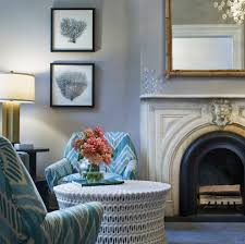 mint coral grey living room contemporary with limestone fireplace