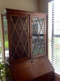 Wood Secretary Desk by John Witticomb Co Burl Wood Secretary Desk With Glass Door