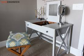 Diy Makeup Vanity Desk Flip Top Vanity Free Diy Plans Rogue Engineer