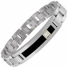 onyx bracelet with diamonds images Men 39 s onyx and diamond id bracelet in titanium and 14k gold 8 5 jpg