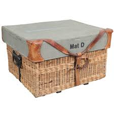 wicker basket with leather handles swiss military wicker basket for sale at 1stdibs