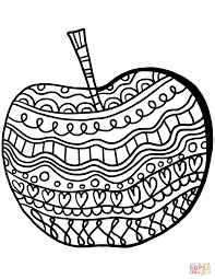 apple with pattern coloring page free printable coloring pages