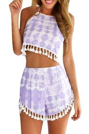 matching sets dye print crop top shorts tassels matching set azbro