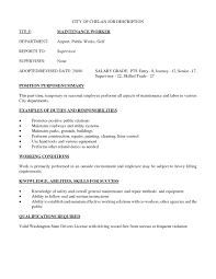 Maintenance Technician Job Description Resume by Building Maintenance Job Description Resume Free Resume Example