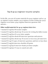 resume format for quality control engineer top8qaqcengineerresumesamples 150426011239 conversion gate02 thumbnail 4 jpg cb 1430028809