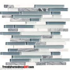 SF Blue White Marble Glass Mosaic Tile Backsplash Kitchen Wall - Blue tile backsplash kitchen