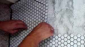 how to install white mosaic porcelain tile on concrete slab youtube