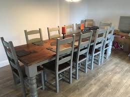 Dining Table And 10 Chairs 10 12 Seater Large Farmhouse Dining Table 10 Chairs Oak Pine