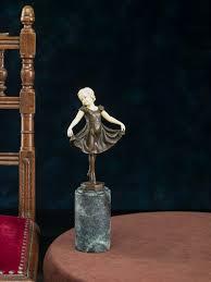 Esszimmer St Le Art Deco Bronze Skulptur Nach Ferdinand Preiss Tänzerin Ballett Sculpture