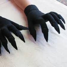 black claws gloves with claws black on black for costume or