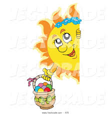 blank easter baskets vector of a happy sun holding an easter basket and looking around