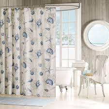 amazon com madison park bayside blue seashells fabric shower