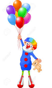 clown baloons clown flying with balloons vector illustration royalty free
