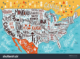 Us Maps States Usa Map States Pictorial Geographical Poster Stock Vector