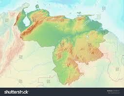 Venezuela World Map by Topographic Map Venezuela Shaded Relief Elevation Stock
