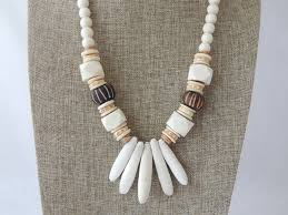 large wood bead necklace images Natural wood bead necklace with sea urchin spikes and bone beads jpg