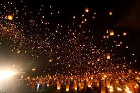 candle balloon spectacular images thousands of students release lanterns into