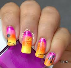preciouspearlmakeup cool sunset nails