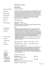 Resume Template For Bartender Bartender Resume Hospitality Exle Sle Description