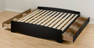 Side Bed Frame Black Wooden Platform Bed With Large Sliding Drawer Bedroom