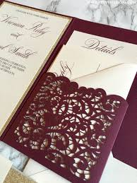 wedding pocket invitations laser cut pocket wedding invitation burgundy and gold glitter