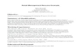 resume exles objectives resume objective for retail management