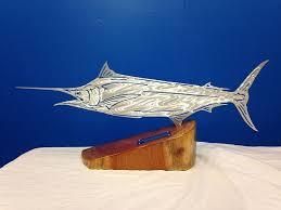 blue marlin side standing mount fish bone design themetaledge