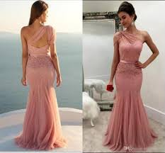 pink dresses one shoulder blush pink mermaid formal prom dresses sparkly