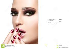Make Beautiful by Beauty And Makeup Concept Autumn Winter Fashion Make Up Stock