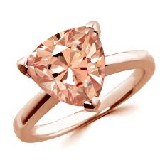 pink morganite pink trillion morganite solitaire engagement ring gold