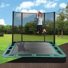 10 x 14 rectangle inground trampoline with half enclosure in