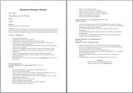 Restaurant Assistant Manager Resume Kitchen Manager Resume Cbshow Co