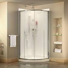 shop shower stalls kits at lowes com dreamline prime white wall acrylic floor round 3 piece corner shower kit actual