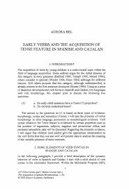 early verbs and the acquisition of tense feature in spanish and