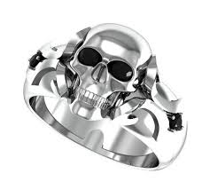skull wedding rings mens or womens skull wedding band solid silver with white diamonds