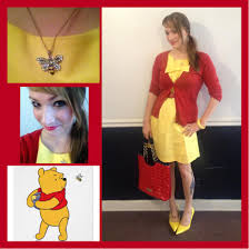 pooh bear yellow dress goodwill 8 red betsy johnson purse