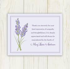 thank you cards for funeral lavendar funeral thank you card printable digital file